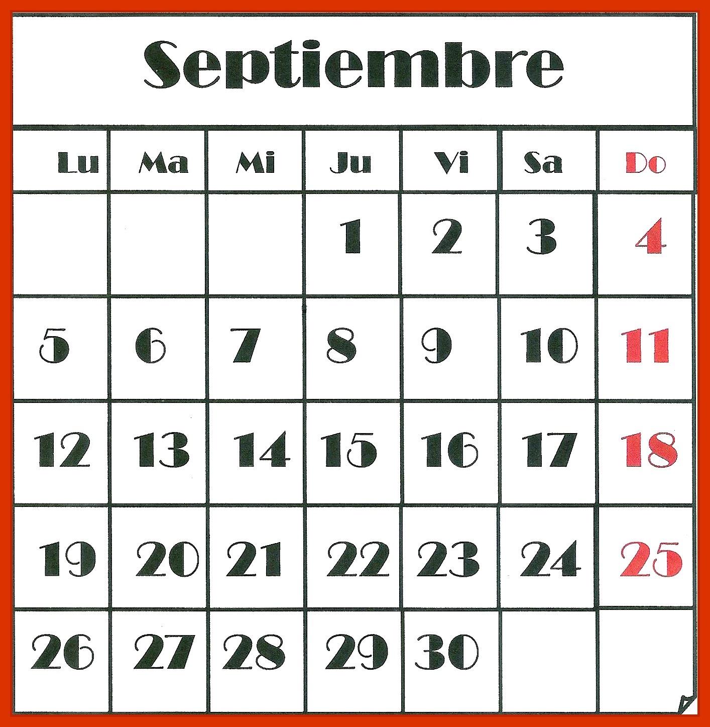 Calendario De Septiembre.Calendario De Septiembre I E S Piramide Huesca